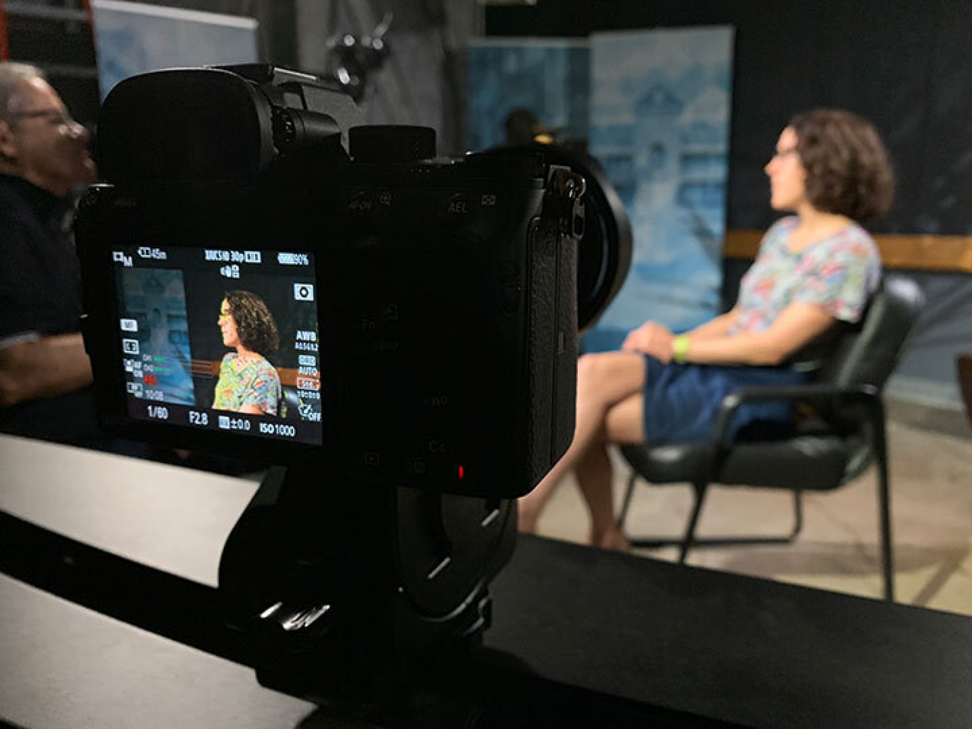 Behind the scenes of an interview in Digital Learning Studios.