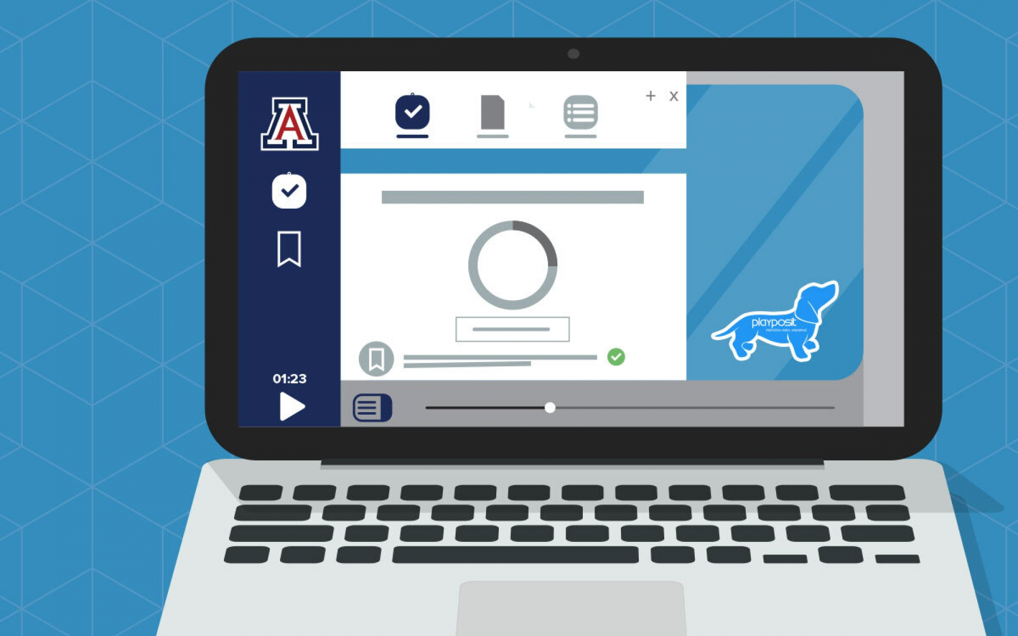 Illustration of a laptop using interactive video player software