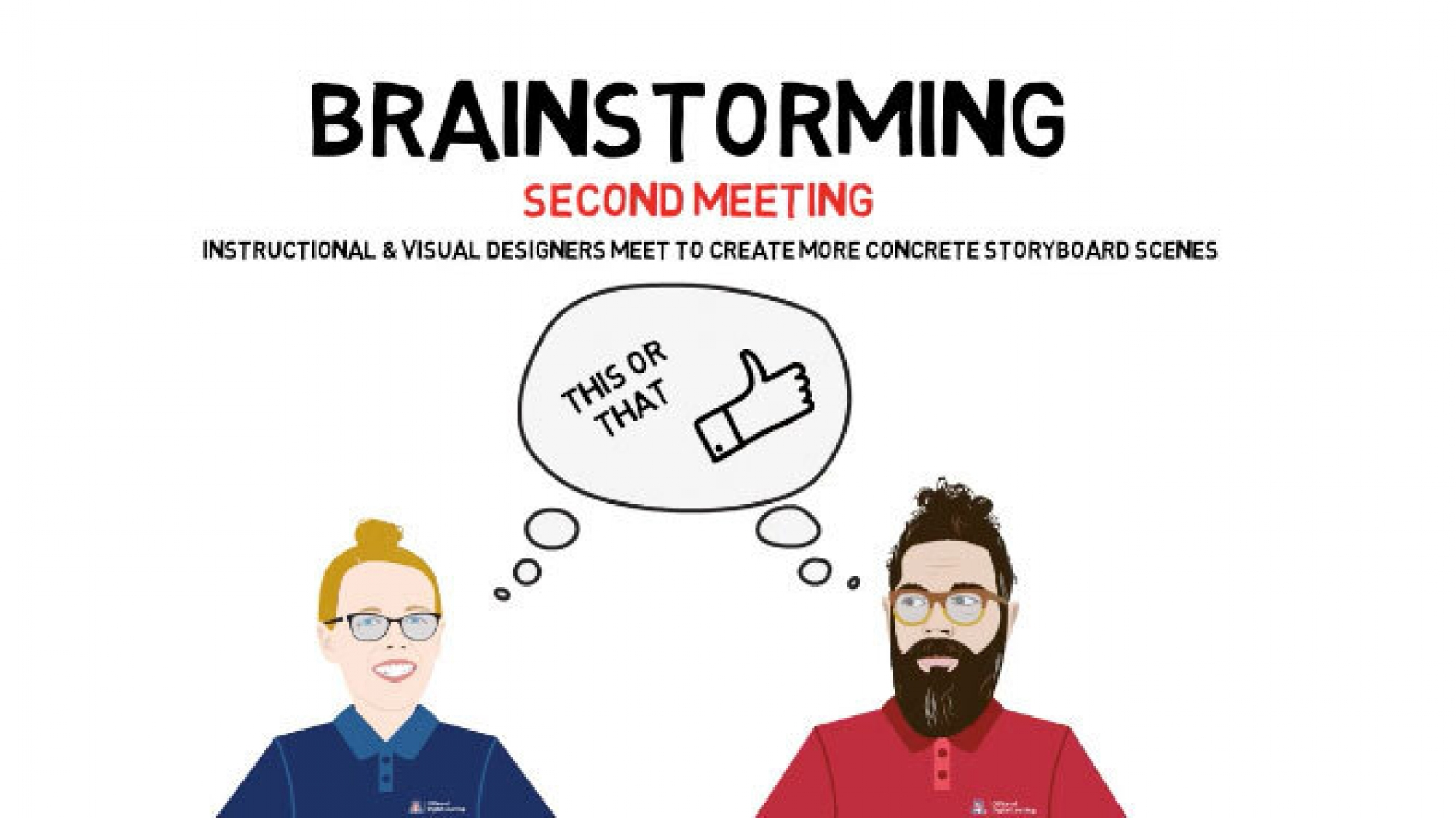 An illustration of two people brainstorming with a shared thought bubble
