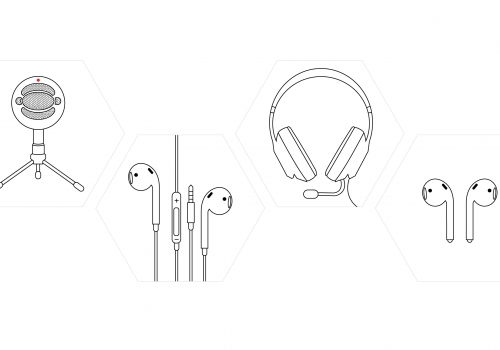 A line drawing of headphones and microphones