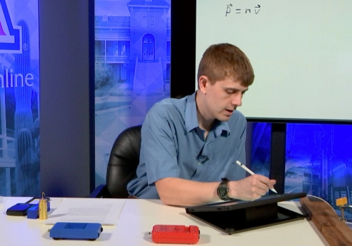Instructor doing a demonstration for an online class